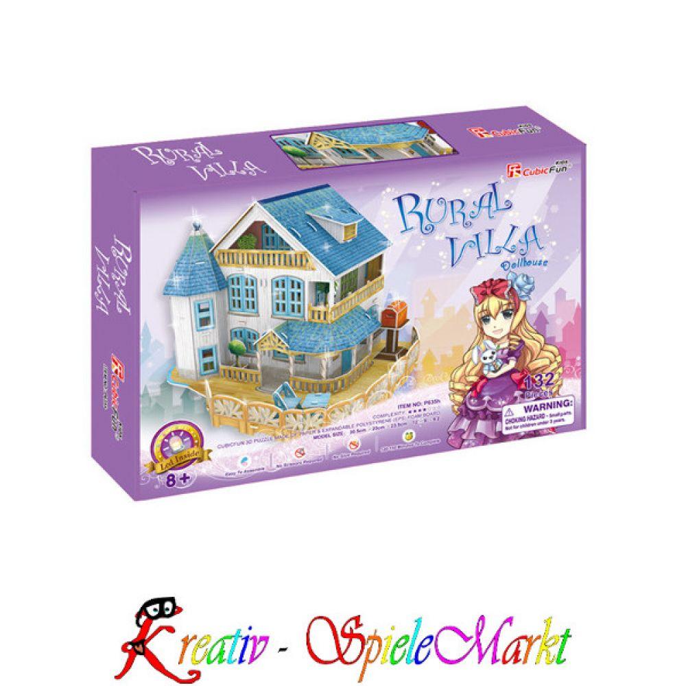 cubic fun 3d puzzle l ndliche villa puppenhaus mit led beleuchtung kreativ spielemarkt. Black Bedroom Furniture Sets. Home Design Ideas