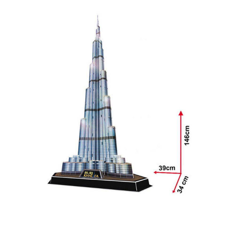 cubic fun 3d puzzle burj khalifa vereinigte arabische emirate mit led beleuchtung gro. Black Bedroom Furniture Sets. Home Design Ideas