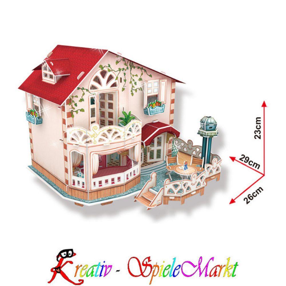 cubic fun 3d puzzle ferienhaus puppenhaus mit led beleuchtung kreativ spielemarkt spiel. Black Bedroom Furniture Sets. Home Design Ideas