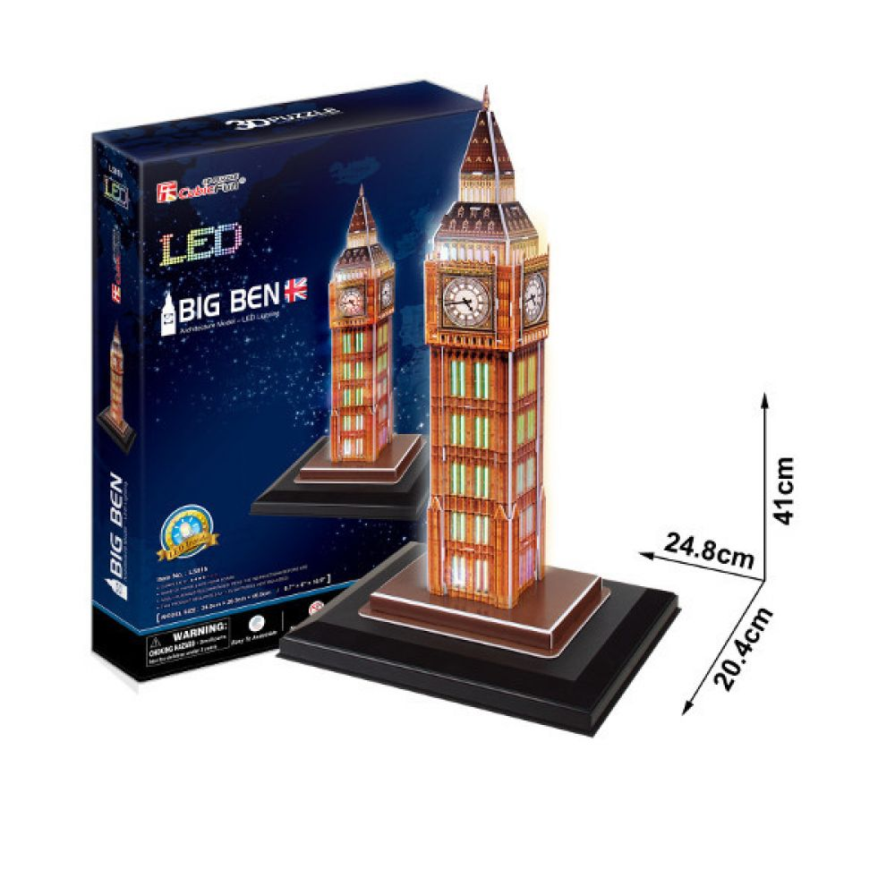 cubic fun 3d puzzle big ben elizabeth tower london england mit led beleuchtung kreativ. Black Bedroom Furniture Sets. Home Design Ideas