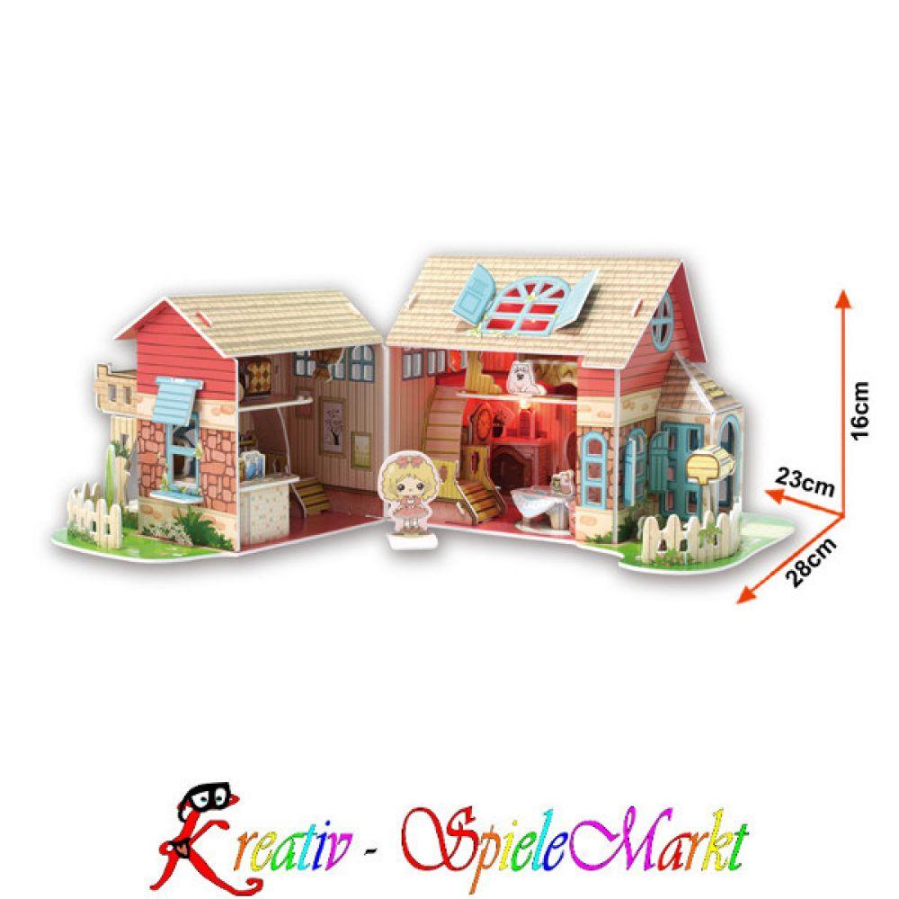 cubic fun 3d puzzle sweet villa puppenhaus mit led beleuchtung kreativ spielemarkt spiel. Black Bedroom Furniture Sets. Home Design Ideas