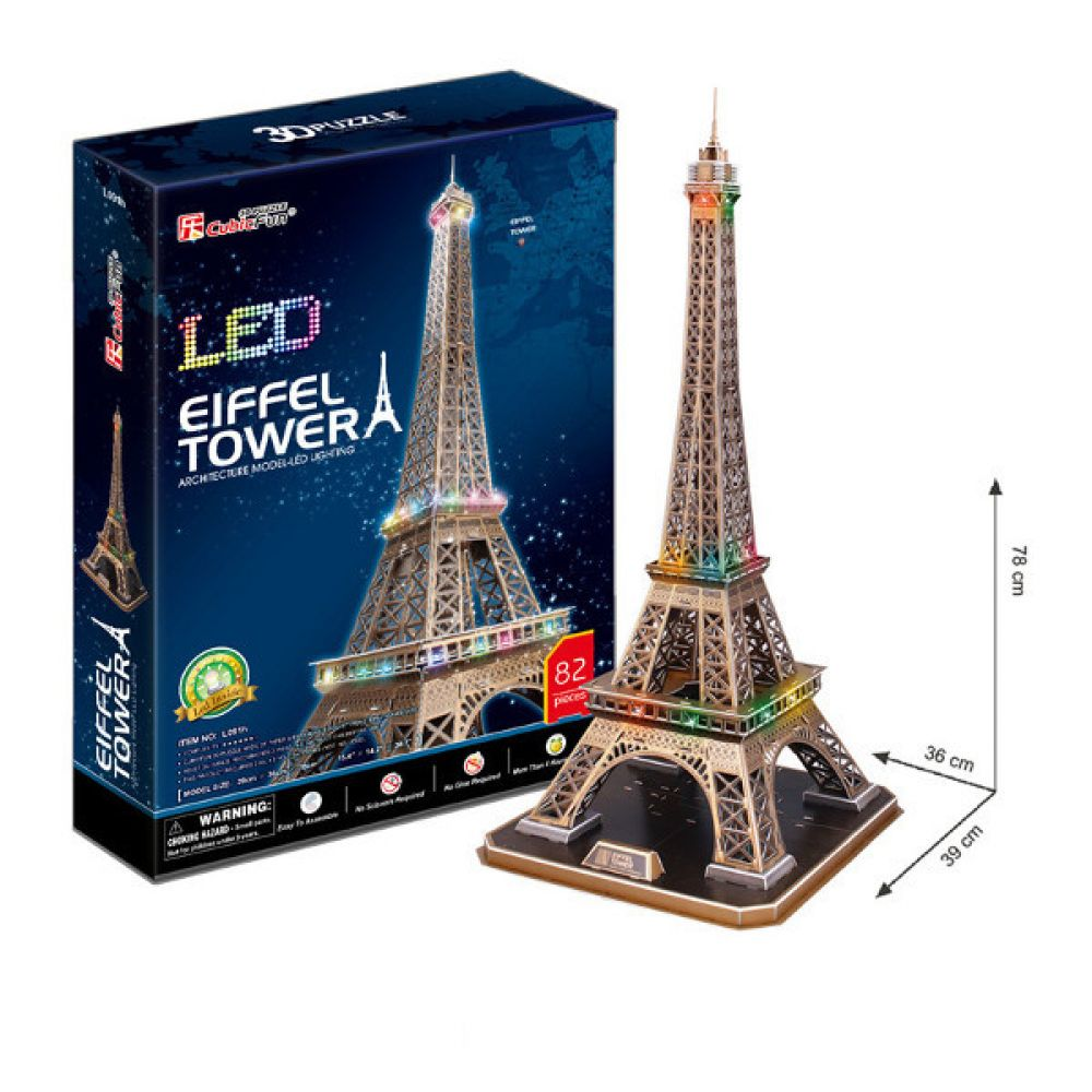 cubic fun 3d puzzle la tour eiffel eiffelturm paris frankreich mit led beleuchtung kreativ. Black Bedroom Furniture Sets. Home Design Ideas