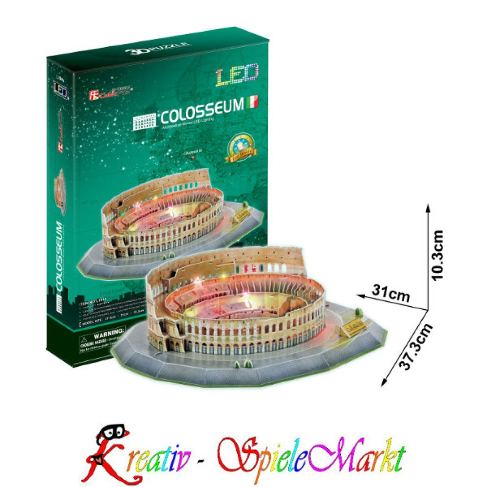 cubic fun 3d puzzle colosseum kolosseum rom italien mit led beleuchtung kreativ spielemarkt. Black Bedroom Furniture Sets. Home Design Ideas