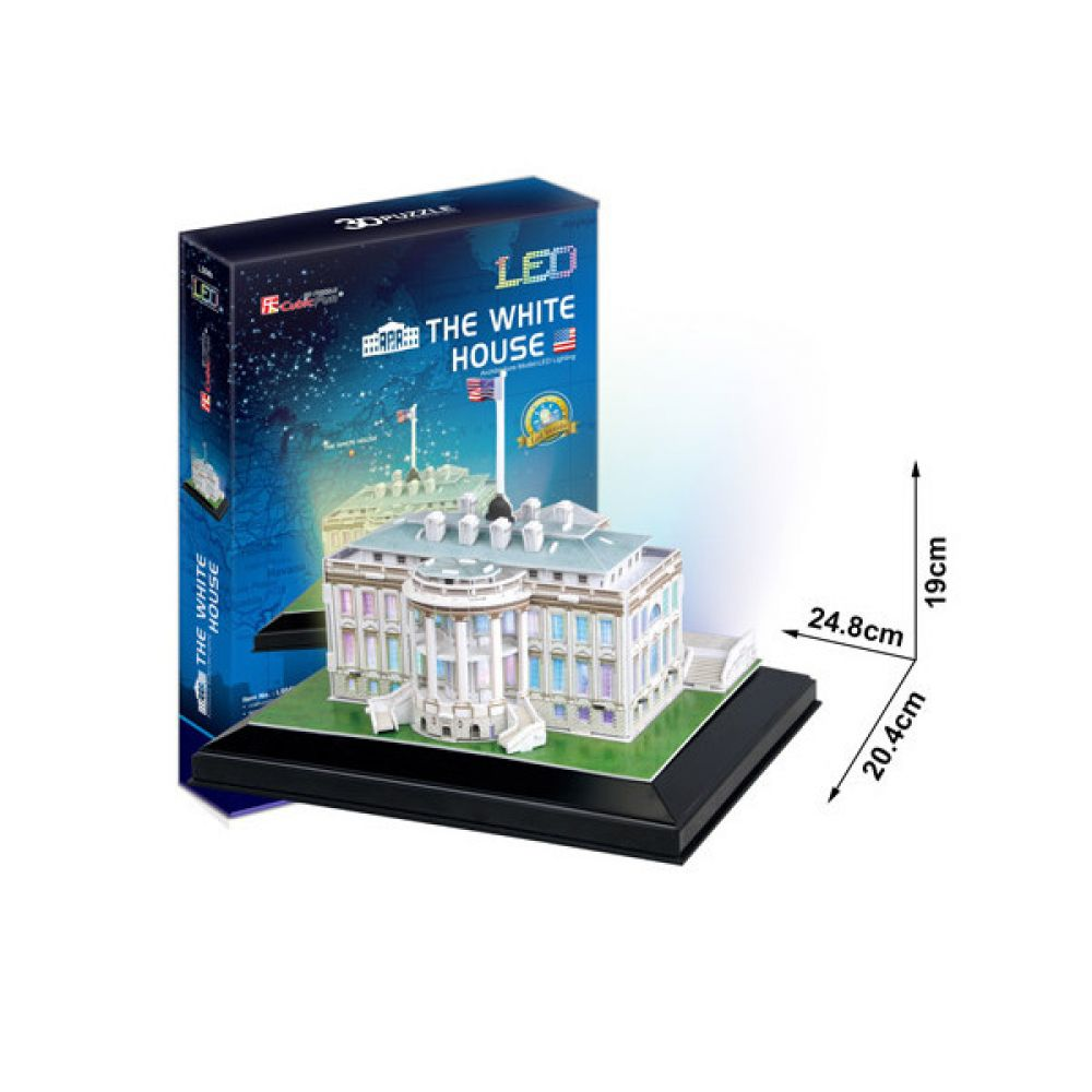 cubic fun 3d puzzle the white house wei es haus washington usa mit led beleuchtung kreativ. Black Bedroom Furniture Sets. Home Design Ideas