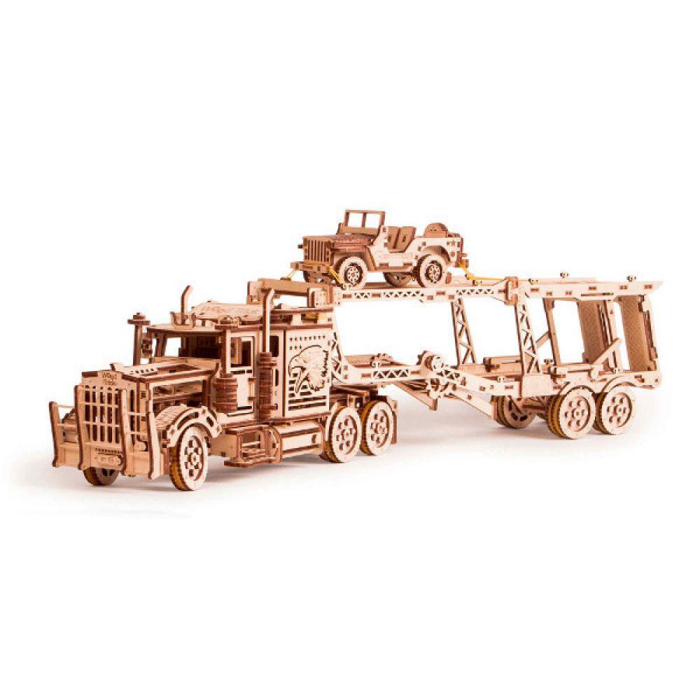 Wood Trick Holz Modellbau Big Rig LKW mit Car Trailer Anhänger Set