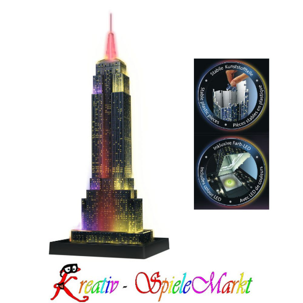 ravensburger 3d puzzle empire state building usa mit led beleuchtung kreativ spielemarkt. Black Bedroom Furniture Sets. Home Design Ideas