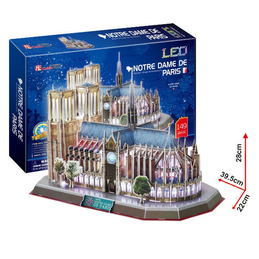 cubic fun 3d puzzle notre dame de paris frankreich mit led beleuchtung kreativ spielemarkt. Black Bedroom Furniture Sets. Home Design Ideas